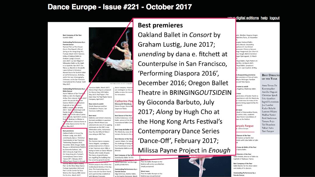 2017 年香港藝術節的作品,由曹德寶自編自跳的《順》,入選為《Dance Europe》雜誌年度最佳首演節目之一。