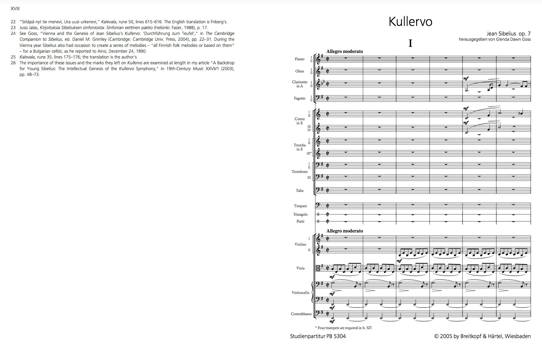 雖然首演大為成功,二十六歲的西貝流士亦一舉成名,但自我要求嚴格的他不久便把它撤回,一生禁止全曲演出,也不許樂譜出版。圖為 2005 年 Breitkopf & Härtel 出版之樂譜首頁。 Image © Breitkopf & Härtel