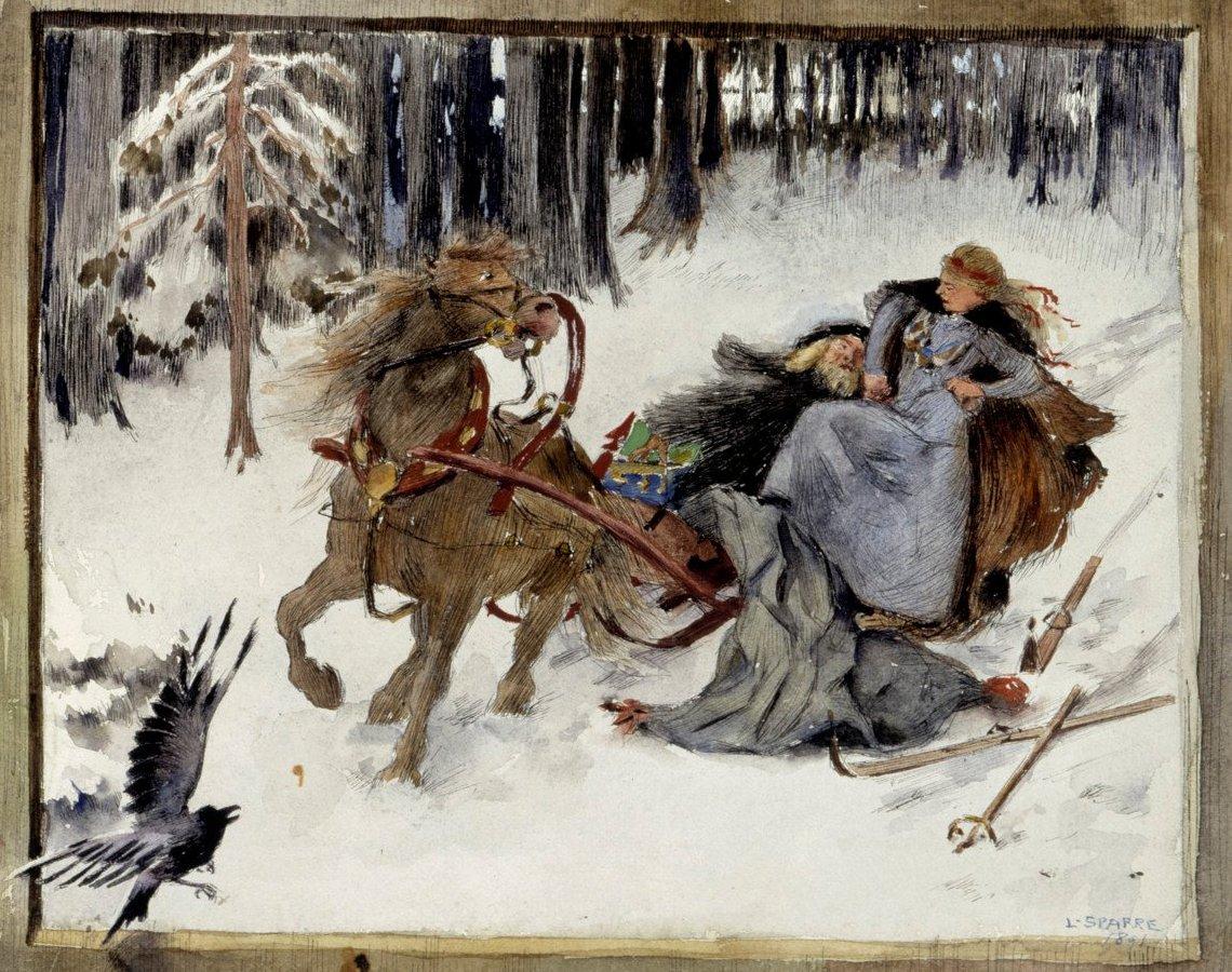 《庫勒沃及其妹在雪車上》(部分),Louis Sparre 畫於1891年,與西貝流士的《庫勒沃》同期。
