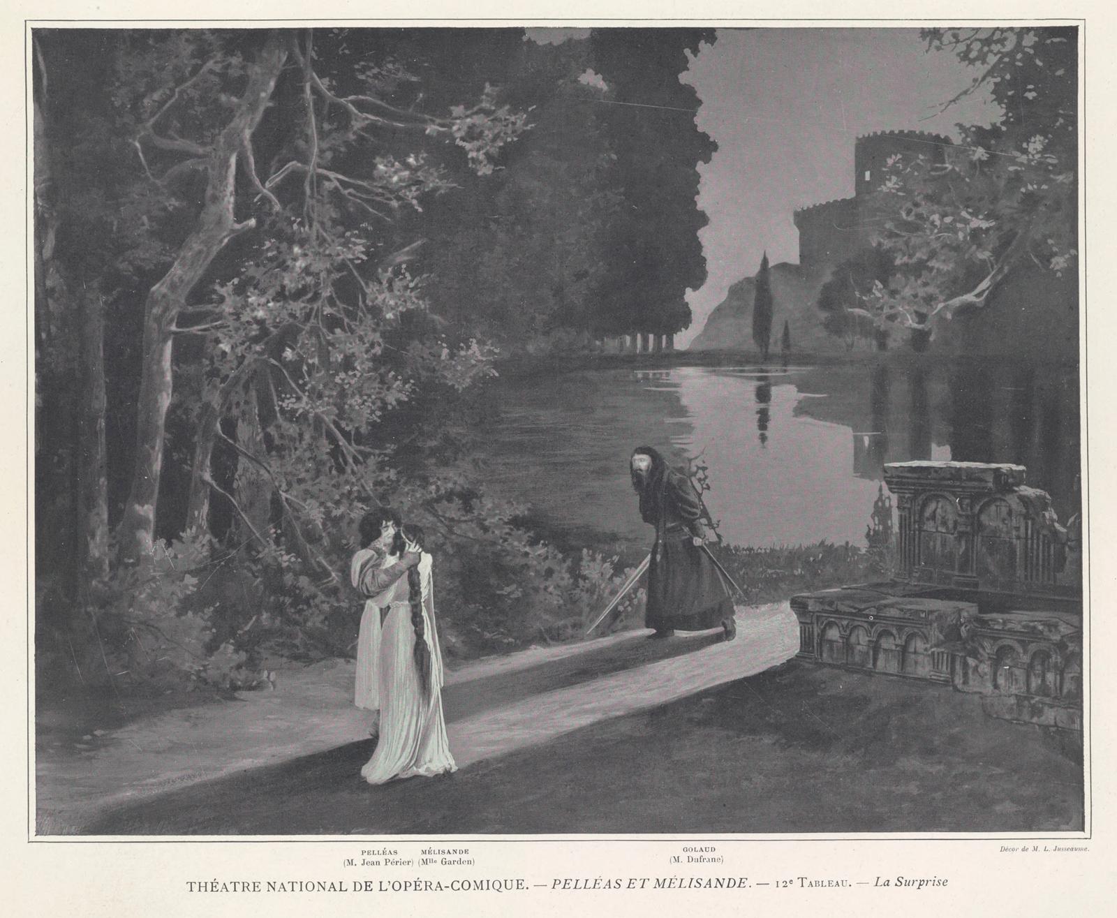 戈洛撞破佩利亞斯與梅麗桑德的幽會。這是 1902 年首演的場景設計圖;影子的方向跟劇本描述的相反!(Image: <i>Le Théatre</i> 1902, nr. 84)