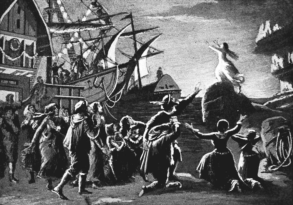 仙達跳海,拯救正乘船離開的荷蘭人。(這是 1917 年《The Victrola Book of the Opera》的插圖。)