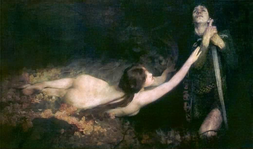 《維納斯與唐懷瑟》,Laurence Koe 約畫於 1896 年。