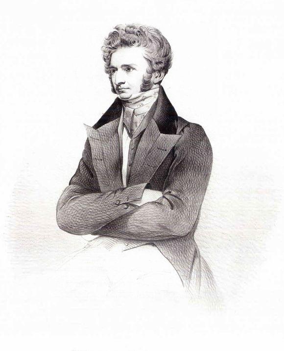 1831 年的白遼士,版畫作者不詳。