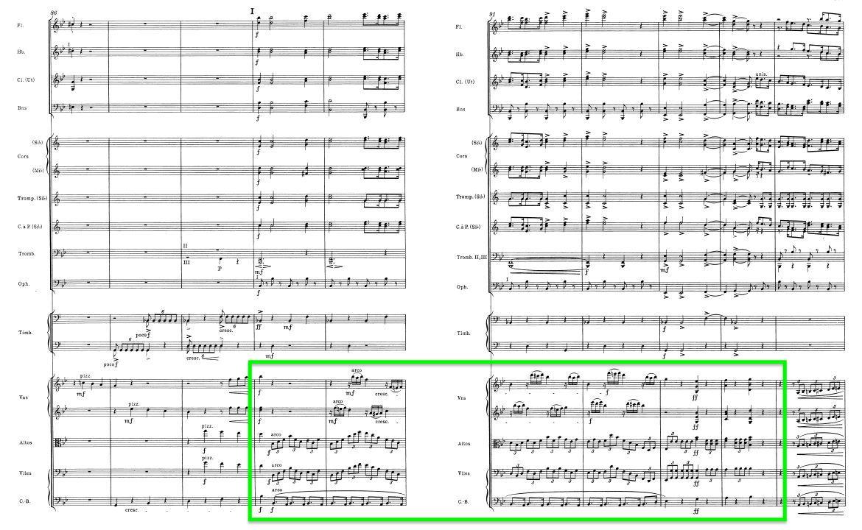 <center>《幻想交響曲》的第四樂章中間,管樂奏起醒目的進行曲旋律和節奏;此時烘襯它們的弦樂,其節奏組合則複雜得令人驚訝。</center>