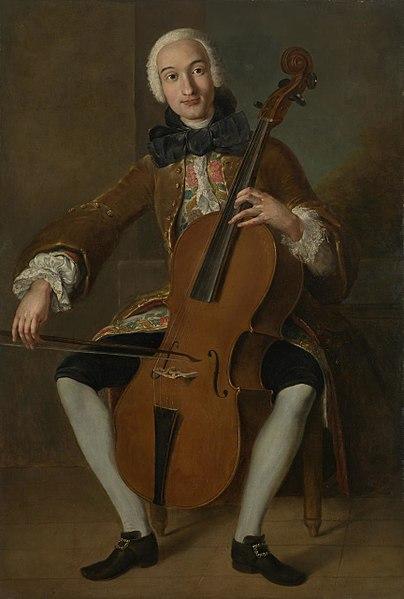 大提琴手兼作曲家鮑凱利尼。約畫於 1764 至 1767 年間,畫家不詳。