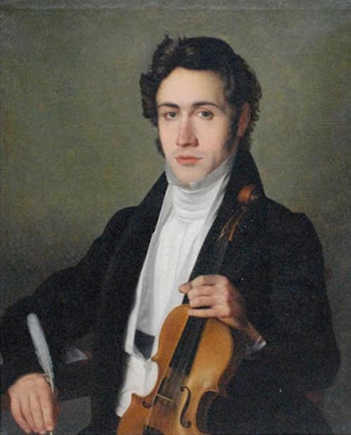 年輕的帕格尼尼。畫家及年份不詳。