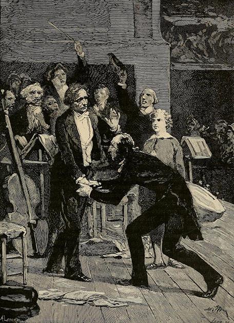 帕格尼尼聽過《哈洛德在意大利》演出後,向白遼士致意。Adolphe Yvon 畫於 1884 年。