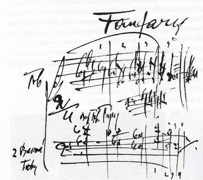 楊納傑克曾將《小交響曲》題獻給捷克 斯洛伐克軍隊,可見他對國家的熱愛。 圖為作品開場號曲的樂譜