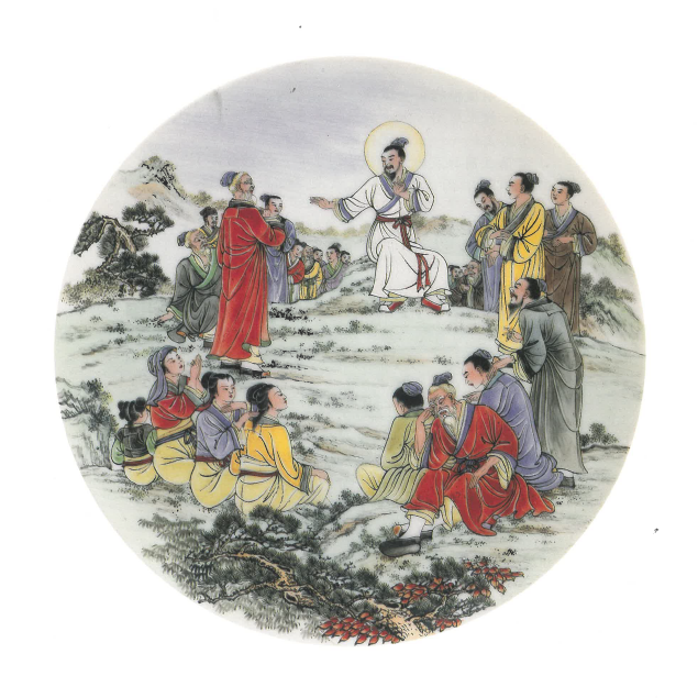 《登山寶訓》 ―― 道風山基督教叢林出產多款福音瓷碟,皆取材自《聖經》相關事蹟。圖片由道風山基督教叢林提供
