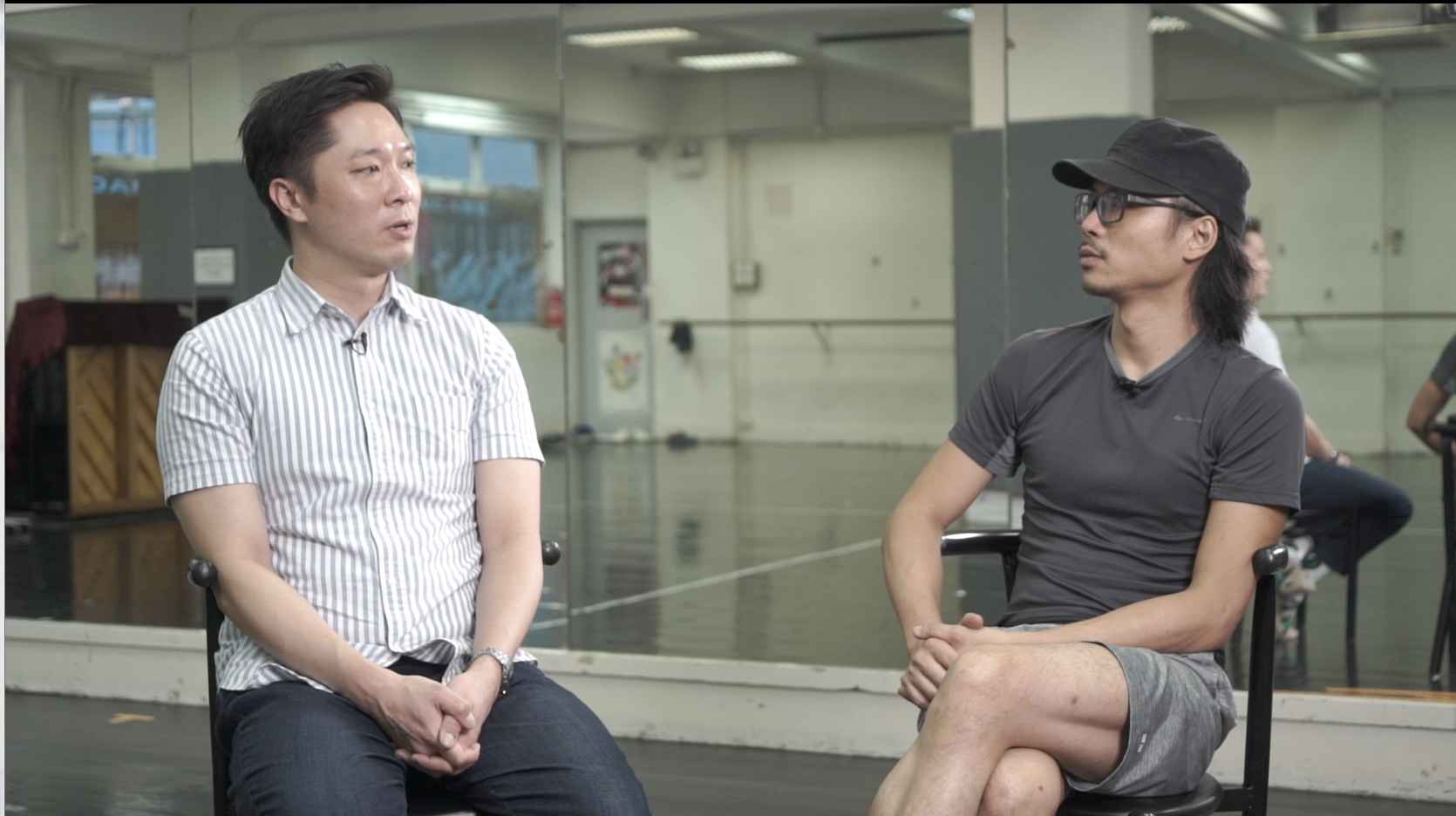Alain Chiu (left) and Max Lee (right) reflect on their collaboration in one episode of the documentary series, which consists of interviews with past participating choreographers, dancers, advisors, students, teachers, and more