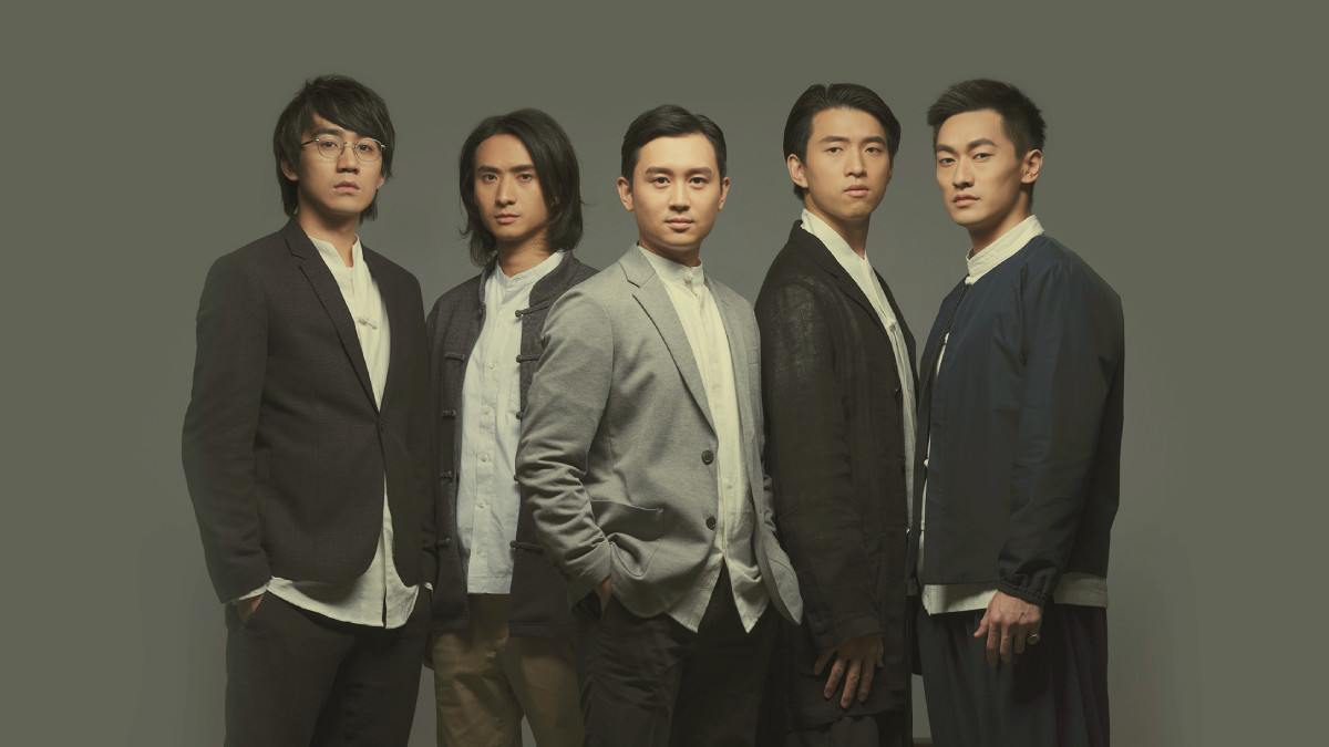 (From left to right) <i>Yat-sen</i> features a young cast including Ng Siu-hin, Andrew Chan, Ling Man-lung, Terrence Leung and Ronald Wong, who play the roles of the young Chan Siu-pak, Yau Lit, Sun Yat-sen, Luk Ho-tung and Yeung Hok-ling respectively © Michael C W Chiu